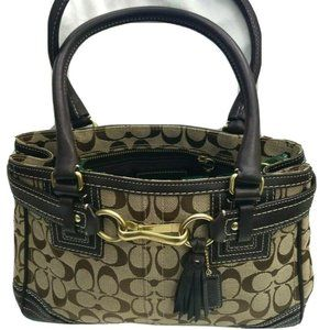Coach 10507 Signature Canvas Leather Trim Satchel